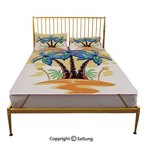 Blue Torch Fabrication - Palm Tree Decor Creative King Size Summer Cool Mat,Cartoon Tropical Island with Hawaiian Palm Trees Torch Seagulls at Sunset Sleeping & Play Cool Mat,Blue Orange