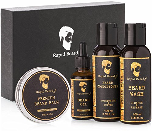 - Beard Grooming kit for Men Care - Unscented Beard Oil, Beard Shampoo Wash, Beard Conditioner Softener, Fragrance Free Beard Balm Leave in Wax Butter - for Styling Shaping & Growth Mustache Gift Set