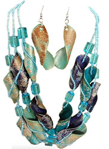 IVETH 3 Strands Seed Beads with Curly Wood Necklace Set Multi Color (Turquoise Blue)