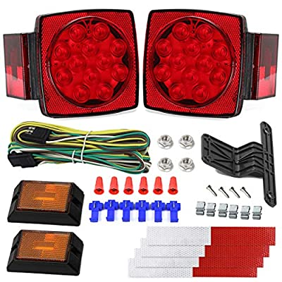 12V Trailer Light Kit DOT Certified Utility Trailer Lights for Boat RV Car Easy Assembly with Wire Harness Wafer LED 50,000H Lifespan Waterproof Durable All-in-one Tail Light Kit for Under 80 Inch: Sports & Outdoors