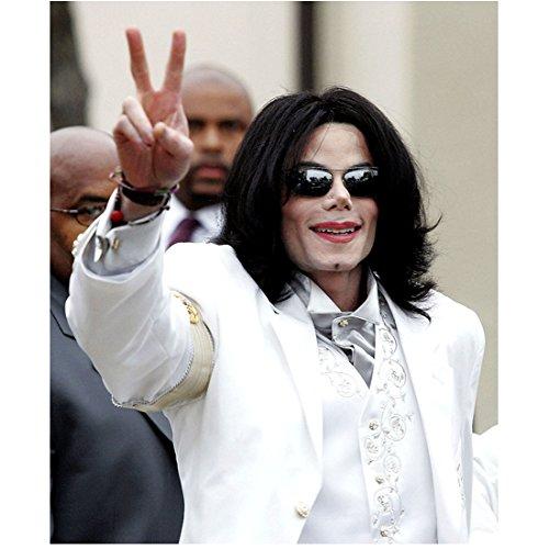 Michael Jackson 8x10 Photo Smile Sunglasses White Suit Peace Sign w/Right Hand kn