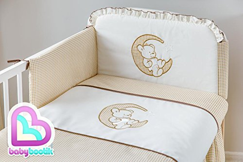 3 Pcs Cot Bedding Set 120x60 cm - Bear on Moon Brown Design Babycomfort