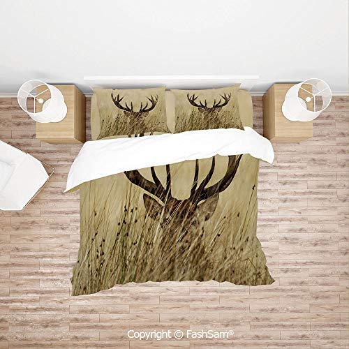 FashSam 4 Piece Bedding Sets Breathable Whitetail Deer Fawn in Wilderness Stag Countryside Rural Hunting Theme for Home(Double)