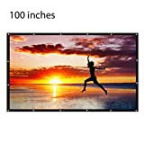 Indoor and Outdoor Projector Screen -100 inch(16:9) - Ancraft Portable Outdoor Movie Screen,PVC Fabri. Easy install on mount/wall and collapsible for HomeTheater/ Camping/ conference room presentation