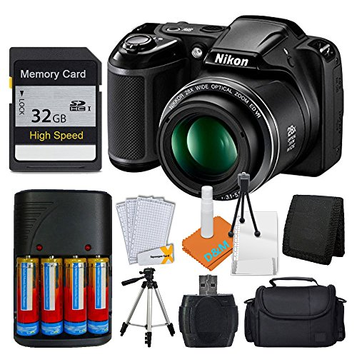 Nikon COOLPIX L340 20MP Digital Camera (Black) + AA Batteries & Charger + 32GB SDHC Memory Card + 50″ Quality Tripod Pro Kit