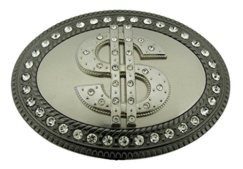 Dollar Sign Iced Out Hip Bling Large Duckets Us Currency Belt Buckle Unisex