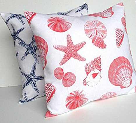 One coral conchas impresión fundas de almohada, cojín, Manta ...