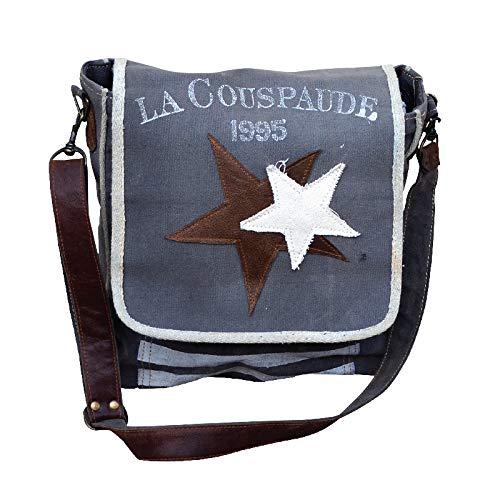 Gray Clea Ray Canvas Star Messenger Bag
