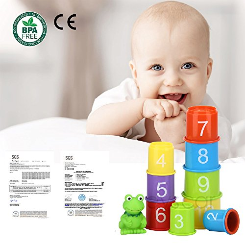 eyscar Stacking Cups Early Educational Toddlers Toy Bathtub Toys with Numbers & Animals Game for Kids Baby 11 Pack by eyscar (Image #6)