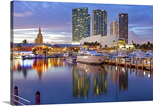 Pietro Canali Premium Thick-Wrap Canvas Wall Art Print entitled Florida, Atlantic ocean, Miami, Marina at the Bayside Marketplace in Downtown - Marketplace Miami Florida