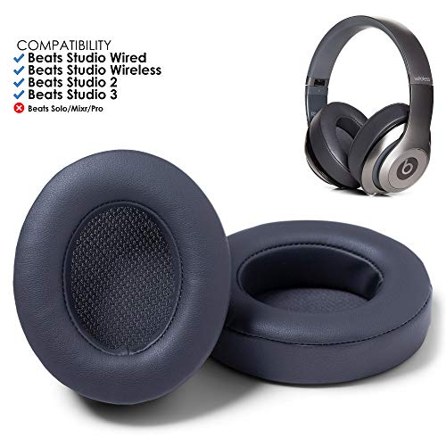 Wicked Cushions Beats Studio 2 Ear Cushions - Beats Replacement Ear Pads Compatible with Beats Studio Wired B0500 / Wireless B0501 / Studio 2 / Studio 3 (Does Not Fit Beats Solo) | Titanium (Titanium Replacement)