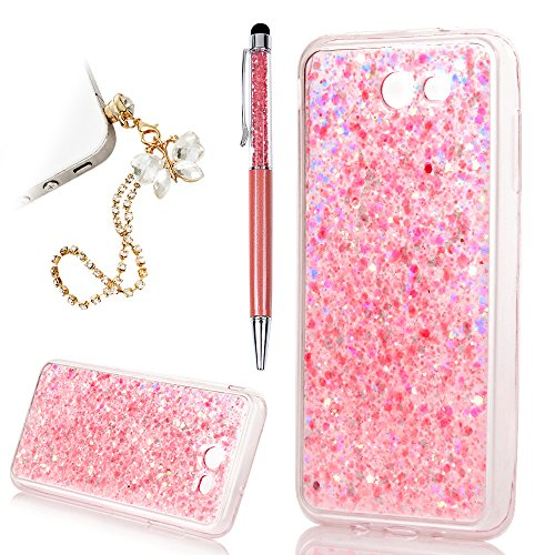 Galaxy J7 V Case, Galaxy J7 Sky Pro / J7 Perx /J7 Prime YOKIRIN Bling Crystal Sparkle Dual Layer Shockproof Hard PC Cover Soft TPU Inner Glitter Case for Samsung (Pink Glitter Crystal Hard Case)