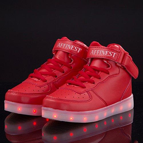 Affinest Led Light Up Schoenen Voor Mannen Vrouwen Hoge Top Usb Opladen 16 Kleuren Knipperende Fashion Sneakers Met Controle App Jongens Meisjes Rood