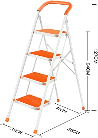 Escalera doméstica Escalera de 4 pasos antideslizante color plata escalera de mano escalera plegable multipropósito - escalera de mano escalera plegable escalera multipropósito (Color : Naranja) : Amazon.es: Hogar