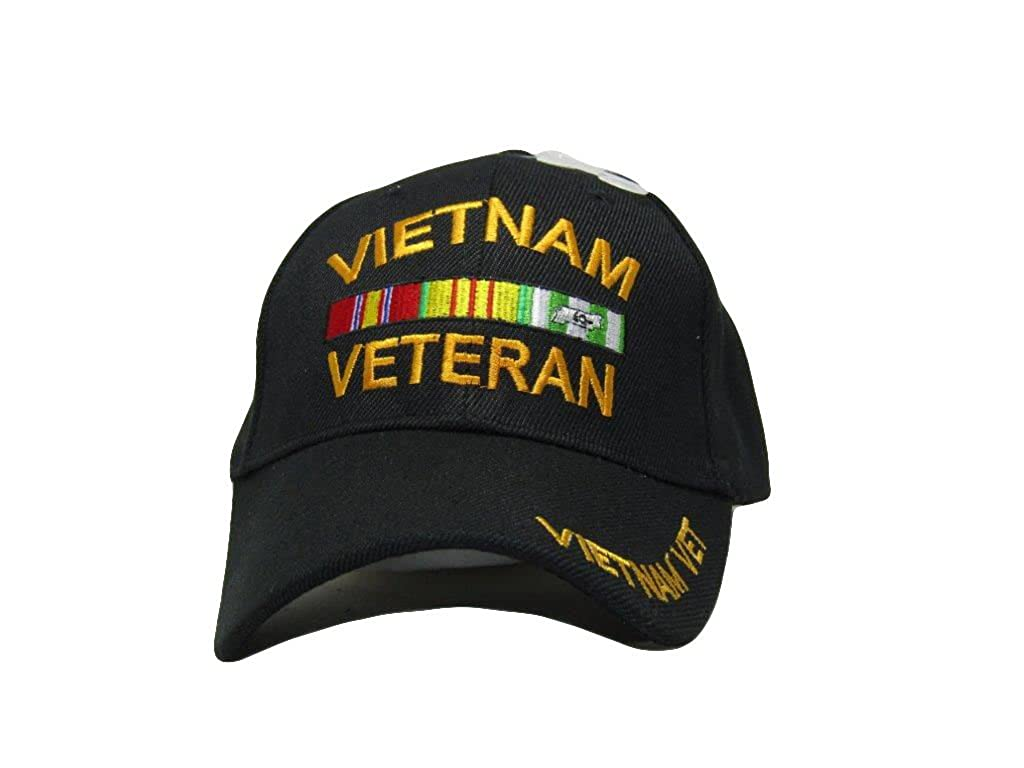 38e7b899 Vietnam Veteran VET VET VET Black and Yellow w Ribbon Hat 3D Embroidered  Baseball Cap aa606e