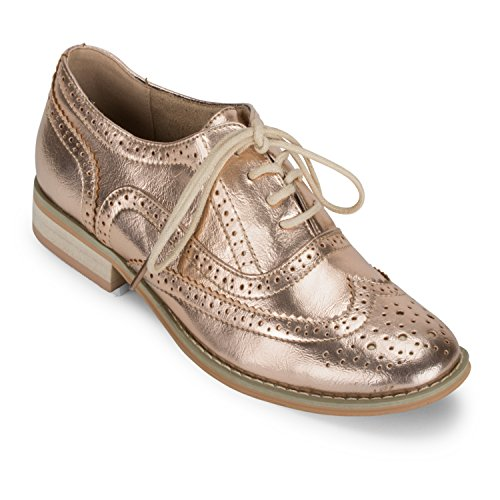Wanted Shoes Womens Babe Cap Toe Oxfords, Rose Gold, 6.0