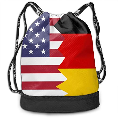SG0HGO Drawstring Bag American German Flag Men Women Gym Sport Yoga Shoulder Bags Black