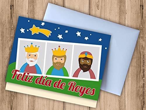 Tarjeta sobre para regalar dineroFeliz día de Reyes. Postal de Navidad.