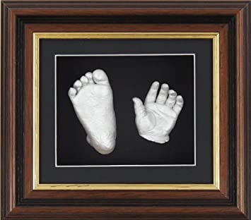 Silver Framed Baby Casting Kit Keepake hand Feet Gift Gold Paint Black and white