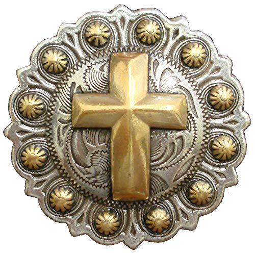 Cross Saddle Concho Western Decoration Berry Shape Chicago Screw Silver Gold