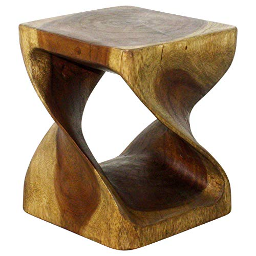 Haussmann Twist Stool 10 in SQ x 12 in H Acacia Wood in Livos Antique Oak Oil Fi ()