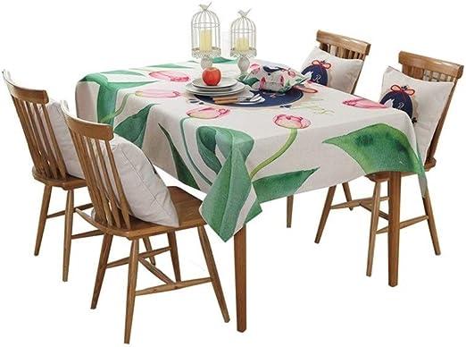 Se Puede Limpiar Limpio y al Polvo Mantel Rectangular, algodón y Lino Estampados, Mesa de Comedor Moderna y Sencilla/Mantel Redondo, Disponible en 5 tamaños para la Cocina Comedor/Escritorio Decor: Amazon.es: Hogar