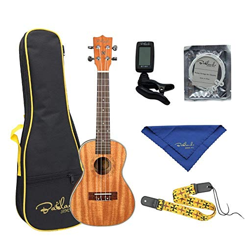 (Bailando 23 Inch Wooden Concert Ukulele Kit with Carring Bag, Strap, Extra Strings, and Digital Tuner, Natural)