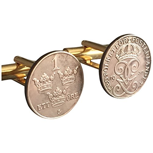 Ammo Gift Box Authentic 1 Ore Sweden Coin Cufflinks