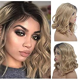 613 Blonde Human Hair Bob Wigs 8″ Short Wavy Bob 13×4 Lace Front Wig 180% Density for Black Women Pre Plucked Remy Human Hair with Baby Hair