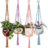 Mkono 4Pcs Colorful Macrame Plant Hanger Indoor Outdoor Hanging Planter Basket Cotton Rope 4 Legs 40 Inch--Brown, Blue, Pink, Purple