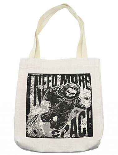 Lunarable Outer Space Tote Bag, Skull in the Spaceman Suit over Grunge Background Dead Spooky Halloween Theme, Cloth Linen Reusable Bag for Shopping Groceries Books Beach Travel & More, (Day Of The Dead Compared To Halloween)