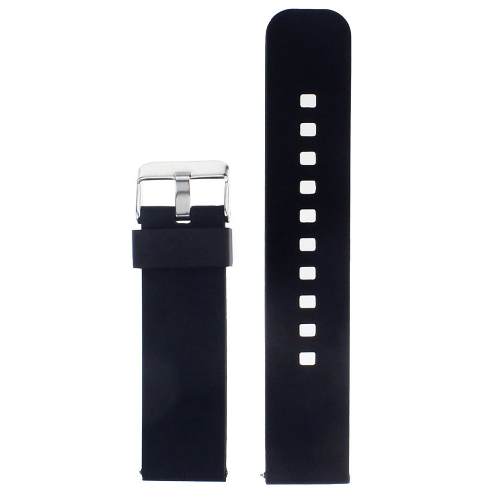 Watch Band/Strap for Pebble Time Smartwatch Band Replacement Accessories with Metal Clasps Watch Strap/Wristband Silicone (Black)