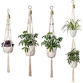 Macrame Plant Hanger Car Charm Mini Car Rear View Plant Holder With