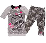 Monster High Off Shoulder Sequin 2-Piece Shirt and Pants Set (XL (14/16), Grey)