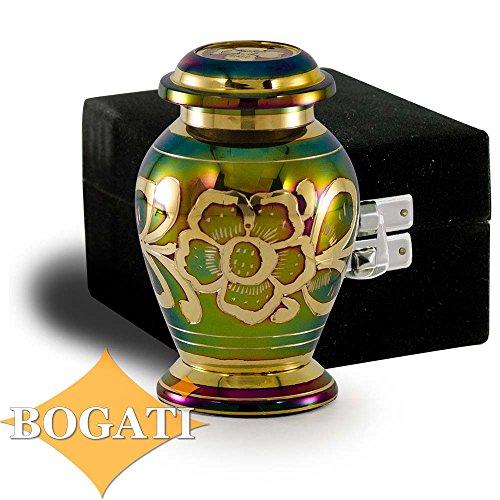 Bogati Iridescent Green Cremation Urn with Shamrock Design - -