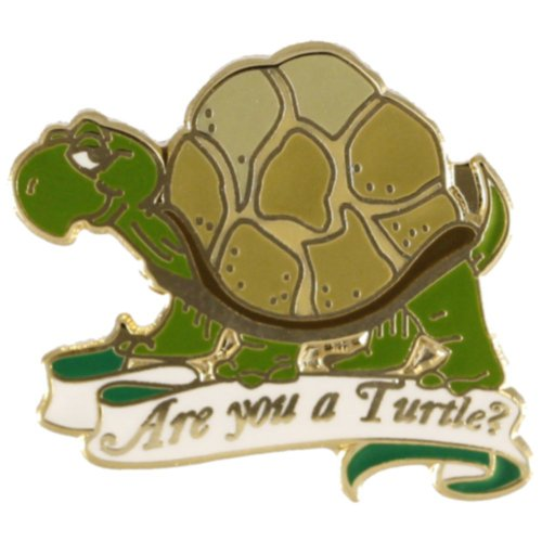 Hattricks Goodimpression are You A Turtle Lapel Pin Gold Plated one inch Wide