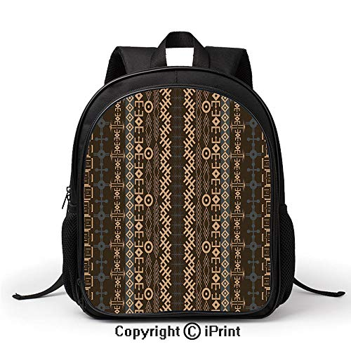 Leisure Theft Prevention School Bag Traditional Ethnic Pattern Geometric Shapes Arrows Striped Tribal Backpack :Suitable for Men and Women,School,Travel,Daily use,etc,Bluegrey Brown Earth Yellow