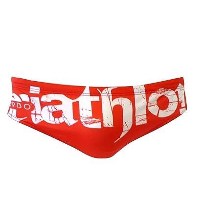 Turbo Bañador Hombre Triatlón Basic – Pantalones de natación para competición Water Polo Nadar Rojo Color