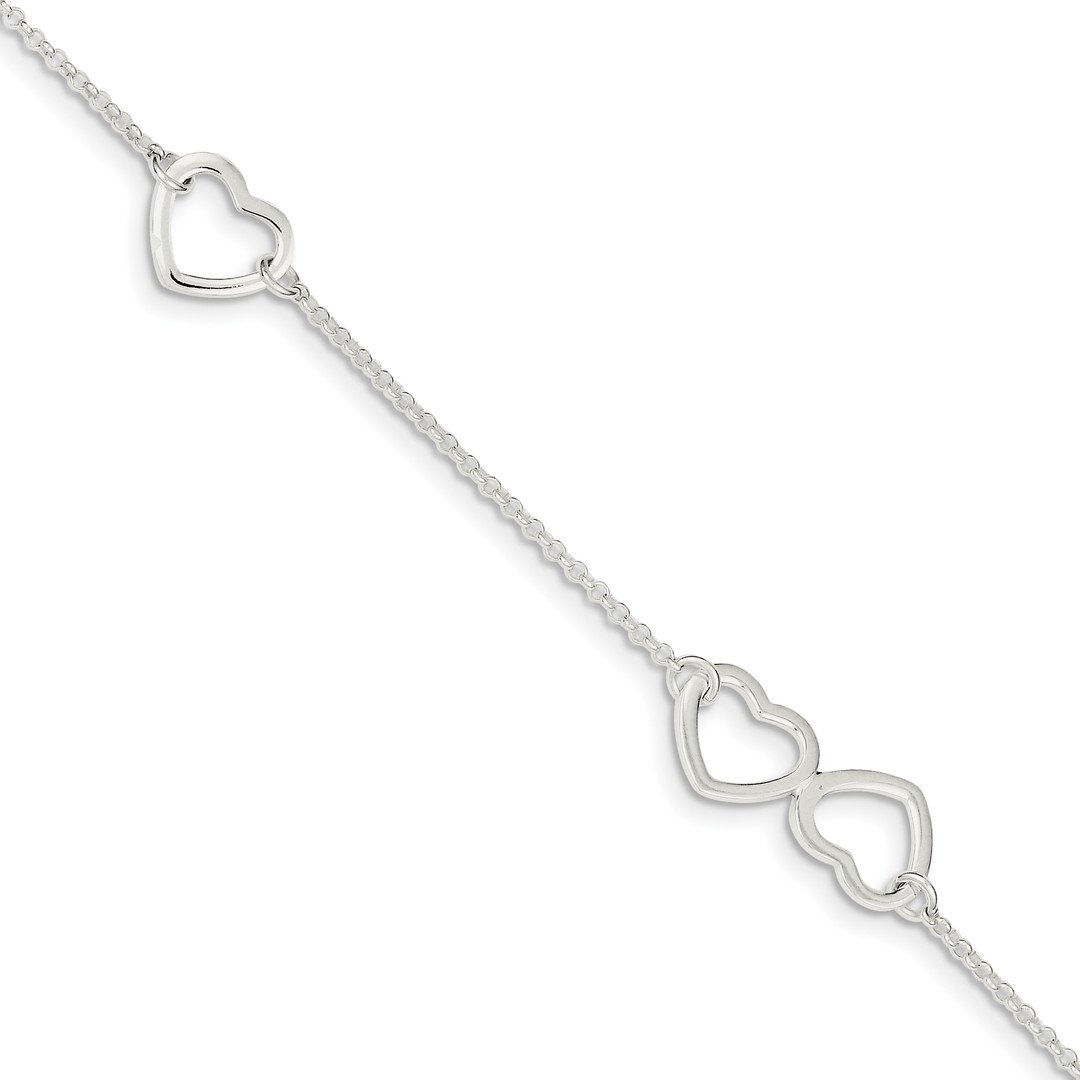 Ankle Bracelet Foot Jewelry Anklet - ICE CARATS 925 Sterling Silver Heart 1 Inch Adjustable Chain Plus Size Extender Anklet Ankle Beach Bracelet Fine Jewelry Ideal Gifts For Women Gift Set From Heart