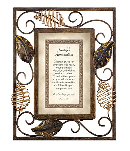 CB Gift Heartfelt Collection-Heartwarming Expressions Wire Framed Sentiment and Verse, 7 x 9-Inches, Appreciation-Hebrews 6:10