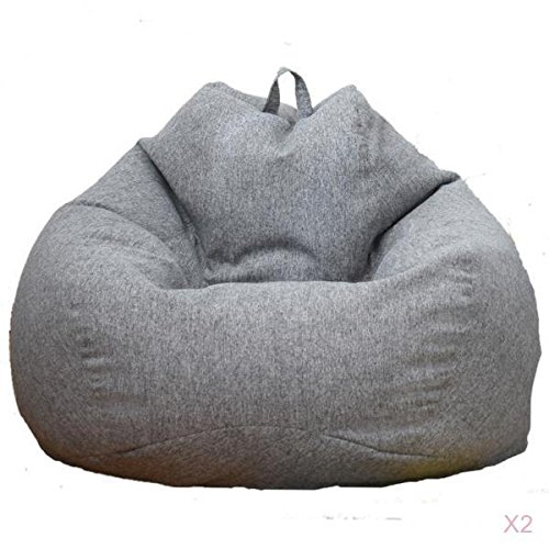 non-brand MagiDeal 2 Pieces Solid Color Linen Large Stuffed Animals Storage Bean Bag Cover Gray by non-brand
