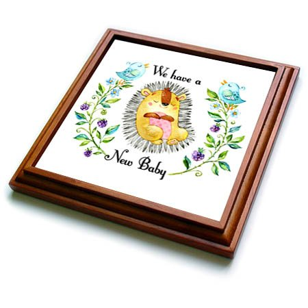 (3dRose TNMGraphics Baby Announcement - New Baby Cute Animal Flowers on Either Side - 8x8 Trivet with 6x6 ceramic tile (trv_286298_1))