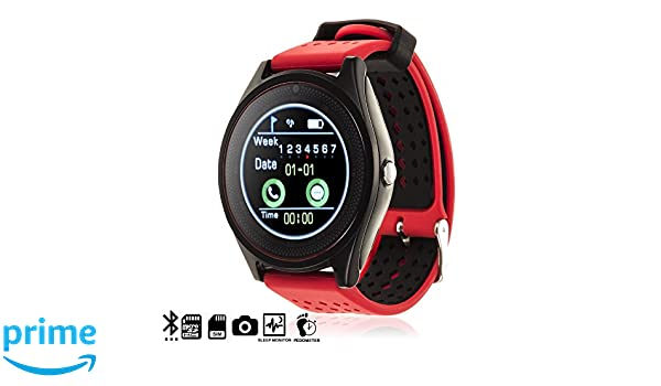 DAM TEKKIWEAR. SMARTWATCH Bluetooth AK-V10 con SIM, Micro SD, Aviso DE Llamadas, Manos Libres Y PODÓMETRO.4,5x1,3x6,5 cm. Color: Rojo: Amazon.es: ...