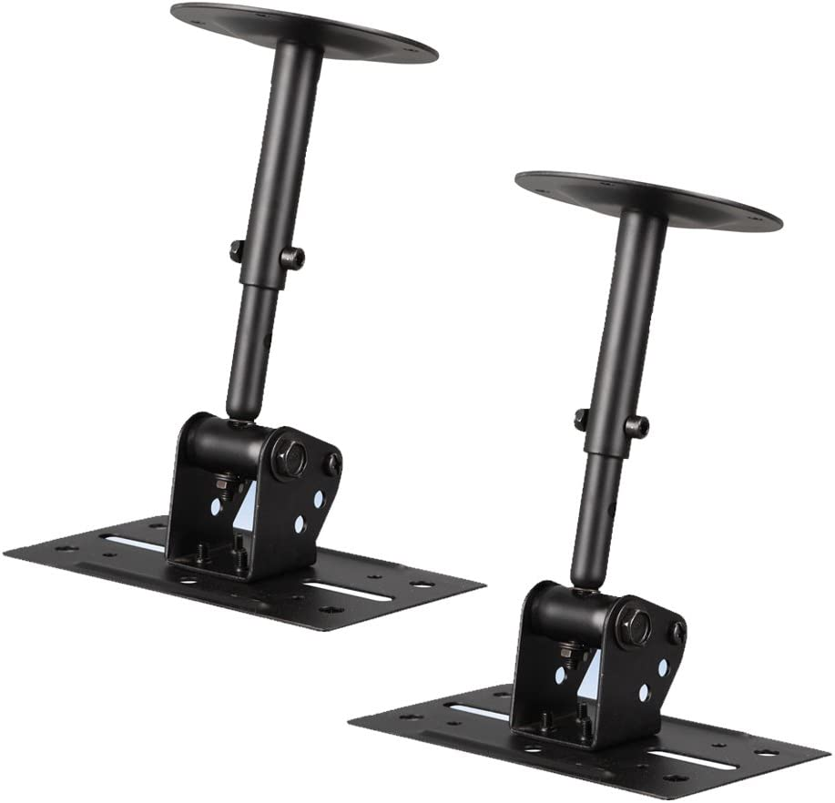 Speaker Wall Ceiling Mount Stand - Black Speaker Mounting Bracket w/ Adjustable Swivel Tilt, Retractable Telescopic Arm - Home Surround Sound System Bookshelf Satellite Speakers - Pyle PSTNDC31 (Pair)