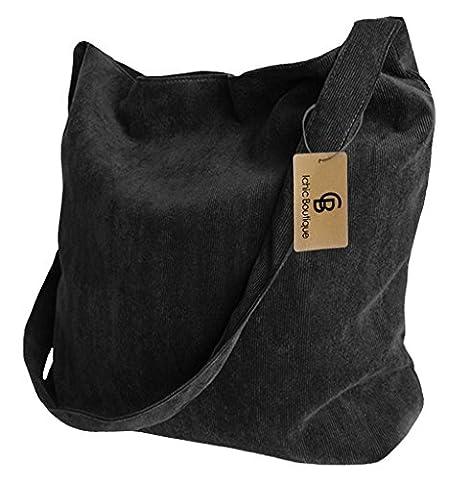 Messenger Bag Womens Shopper Tote Satchel Shoulder Crossbody Bag Bookbag,Black - Corduroy Womens Shoulder Bag