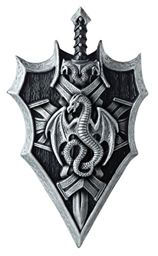 California Costumes Men's Dragon Lord Shield & Sword, Silver/Black, One Size]()