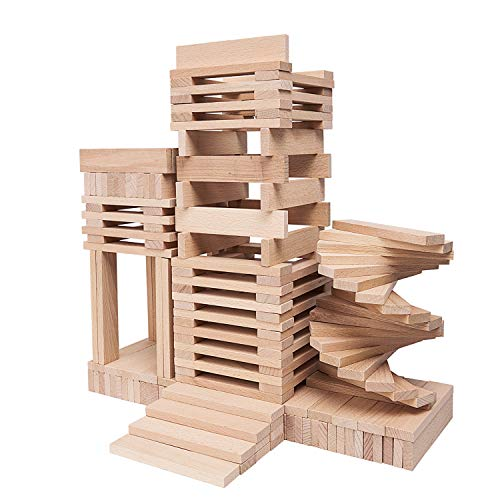 LuckIn 400 Pieces Wooden Building Planks Set, Kids-Building Construction Blocks Set for Training Kids Imagination and Manipulative Ability, Natural