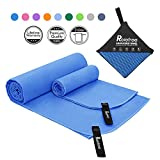 6. Relefree Microfiber Camping Towel, 2 Sizes Sports, Travel, Camping Towel, XL(60x30'') & XS(24X15''), Quick Dry, Ultra Absorbent, Suitable for Fitness, Camping, Swimming, Backpacking