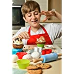 Riki's kingdom kids baking set 11 COMPLETE 38-PIECE BAKING SET! includes everything needed to bake with your children- Comes with 12 silicon baking cups, 1 spatula, 1 pastry brush, 5 measuring spoon, 1 rolling pin, 1 whisk, 5 star shape cookie cutters, piping bag , 6 piping nozzles , coupler and 5 recipe cards FAMILY-FRIENDLY FUN! Complete set ,It's not complicated- every convenience you can ask for and more! Microwave safe, flexible, comfortable for little hands, rust-free, no need to grease pan, withstands heat of melted sugar; sauces and creams don't stick, and the items are reusable to makes your kitchen a little greener STORE SMALL - BAKE BIG - plastic cookie cutters can be nested to save space, the piping bag and apron can be folded up neatly, while silicone items are flexible enough that you can fold it up for easy storage in small areas and they jump right back into shape when unfolded