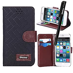 Oksobuy® Apple Iphone 6(4.7 inch) Model,High quality and durable Fashion Luxury Designer PU Leather Wallet Type Magnet Bracket Combo Flip Case Cover with Credit Card Holder Slots Fit For Apple Iphone 6 ( Apple Iphone 6 case)with Screen Protector and Stylus (Black with Plaid Wavy texture )